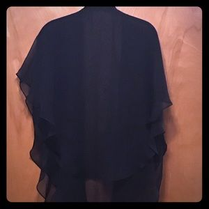 Sheer Black Double Layer Chiffon Butterfly Wrap.